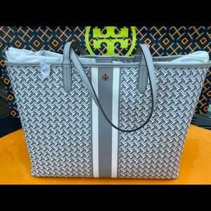 Tory Burch Tile T Link Tzag Tote French Gray Bag